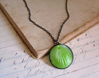 Chartreuse Button Necklace Simple Glass Jewelry OOAK