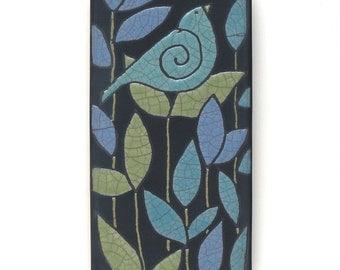 Bird,Ceramic tile,Whimsical, handmade, wall art, home decor 3x6 raku fired art tile