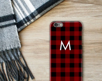 Buffalo Check iPhone 7 Case, Plaid iPhone 6S, Red and Black Monogram iPhone 7 Plus, Personalized iPhone SE, Lumberjack Gift for Christmas