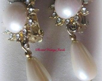 Vintage Pearl  Rhinestone Drop Clip  Earrings