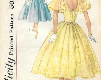 Simplicity 2321 1950s Scoop Back Full Skirt Party Dress Vintage Sewing Pattern Size 11 Bust 31 Puff Sleeves Princess Dress