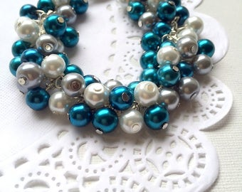 Cluster bracelet, teal pearls, cluster jewelry, glass pearls jewelry. Other colours available.