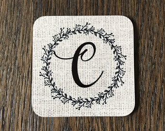 Personalized Hardboard Coasters, Burlap Design with Leafy Wreath, set of 4