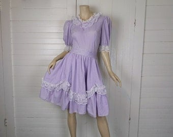 Lavender Lolita Dress- 1980s / 80s Polka Dot Harajuku Mini- Lace- Large
