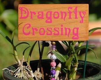 "HANDMADE  Wooden Garden Sign ""Dragonfly Crossing"""