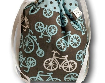 Bicycles - One Skein Project Bag for Knitting, Crochet, or Other Needlework