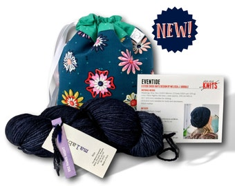 """Evening Primrose - NEW! A """"Just Add Needles"""" Knitting Kit- Limited Edition Project Bag, Yarn & Hat Pattern"""