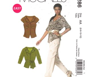 Womens Blouse Pattern McCalls 6286 Raglan Sleeve Shirt Button Front Cap or Three Quarter Sleeves Womens Sewing Pattern Size 6 8 10 12 UNCUT