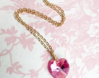Pink Heart Necklace Swarovski Crystal Love Valentine Rose AB Sweetheart Girlfriend