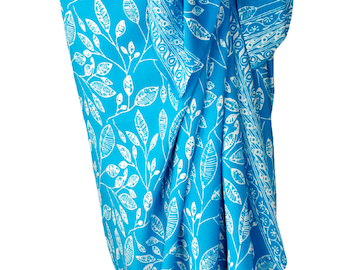 Beach Sarong Pareo Wrap Skirt - Batik Pareo Beach Wedding Dress Batik Sarong - Sky Blue & White Beach Cover up - Hawaiian Maile Leaf Sarong