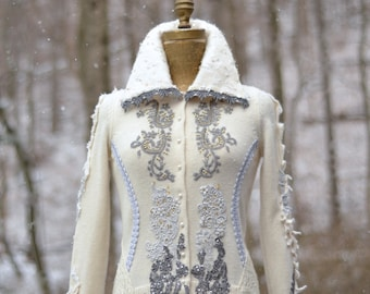 White gray Wedding sweater COAT- refashioned eco wearable art couture, boho beaded OOAK Fantasy clothing, size SMALL. Ready to ship