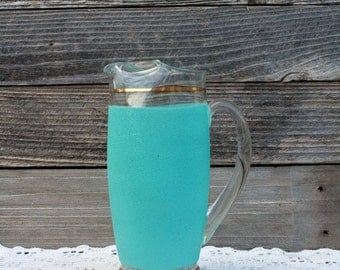 1950's Retro Glass and Teal Blue Pitcher With Gold Bands