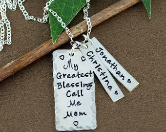 My Greatest Blessings Call me Mom, Personalized Mothers Necklace, Personalized Jewelry, Bar Necklace, Gift for Grandma, Mother's Necklace