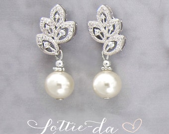 Vintage Style Bridal Pearl Earrings Leaf Design, Gold or Silver Wedding Drop Earrings with Blush, Champagne, Ivory or White Pearl ' LIA'