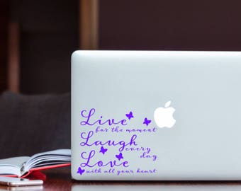 Live Laugh Love Decal, Laptop Decal, Glass Block Decal, Window Decal, Live Every Moment, Inspirational Quote, Live Laugh Love Sticker, Love