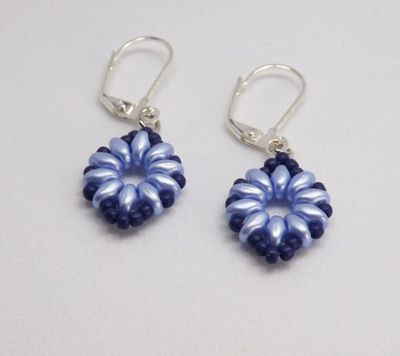 Beaded Earrings in Lt Sapphire Blue with Sapphire Blue Border SKU: ER1025