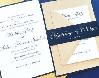 Wedding Invitation, Wedding Invite, Modern Calligraphy Wedding Invitations, Navy Blue Wedding Invitations, Invitation Suite, Madeline Suite