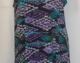 Plus Size Tank Top, Coco and Juan Lagenlook, Purple, Turquoise, Tahiti  Print Knit Angled Tank Top Size 1 Fits 1X,2X Bust  to 50 inches