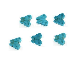 15MM  Carved Turquoise Butterfly Beads  , 6 Pcs  , Carved Turquoise Butterfly