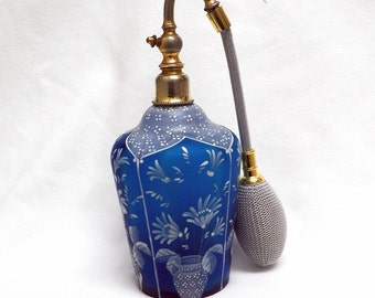 Perfume Atomizer Teal Satin Glass with White Enamel Painted Design