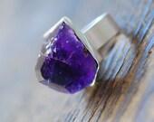 Raw Amethyst Gemstone Ring SOLD for Heidrun