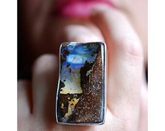 Dollybird Raw Australian Boulder Opal Ring