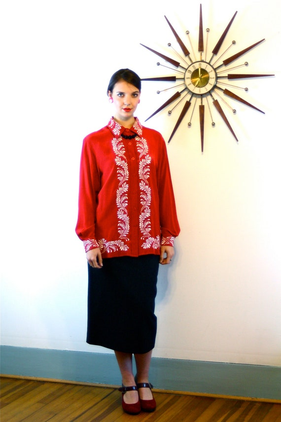 Vintage 90s Bright Red Diane Von Furstenberg 100% SILK Blouse Embroidered Loose Fit Long Sleeve Button Down Shirt 1990s DVF Silk Assets Top