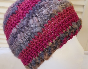 Crochet Striped Beanie / Hat / Cap / Pinks And Purples With Pink Shimmer/ Adult/ Womens Crochet Skull Cap/ Handmade Winter Accessories