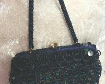 vintage beaded purse, vintage 60s bag, beads sequins, midnight blue, blue evening bag, 1960s beaded bag, small blue bag