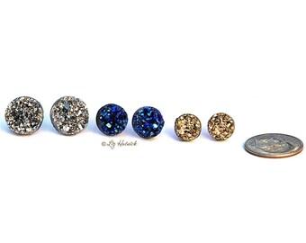 Faux Druzy Stud Titanium Earrings. 3 Pair Set Drusy Glitter Posts. Galaxy Collection. Dark Silver, Blue-Black, Gold Metallic
