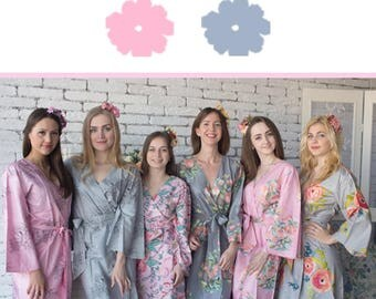 Pink and Gray Wedding Color Bridesmaids Robes - Premium Rayon Fabric - Wider Belt and Lapels - Wider Kimono sleeves