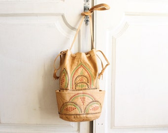 vintage woven leather bucket bag Moroccan