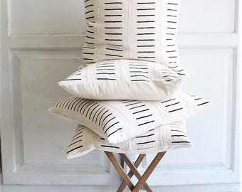 woven mudcloth pillow cover black and white 20 x 20