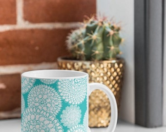 Aqua Coffee Mug // Ceramic Coffee Cup // Tea Cup // Kitchen Drinkware // Home Decor // Delightful Doilies Tiffany Design // Boho Chic