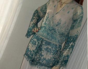 1920s Style Replica Silk Chiffon Frock Set Original Design Size Med Money Bills Color Dress