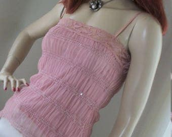 1920s 1930s Vintage Style Pink Ruched Stretchy Mesh Chiffon Camisole Top Size M Unique Peaks Sheer Outer Very Pretty