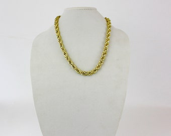 Vintage 60s Classic Chain Necklace Goldtone Metal Triple Link Chain w Textured Smooth Finish W. Germany Signed