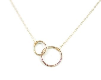 Dainty Necklace, Delicate Necklace, Mother's Necklace, Connected Circles, Intertwined Circles, Big and Small, Circle Circle Jewelry,