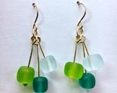 Seaglass and gold drop earrings with geometric cubes, emerald and aquamarine beach glass dangles minimalist earrings paulbead glass earrings