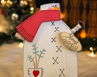 "Wooden Snowman 9.5"" - Merry Christmas - Wood Holiday Tabletop Decoration with Distressed Finish"