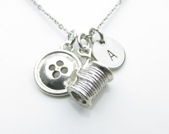 Button and Spool of Thread Charm Necklace, Sewing Necklace, Crafters Necklace, Personalized Initial Necklace, Stainless Steel Monogram Y455