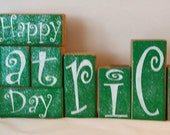 Happy St. Patrick's Day Blocks Wood Set Green Blocks And White Letters With Glitter Holiday Blocks