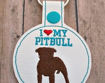 I Love My Pitbull Keychain, Key Fob, American Pit Bull Terrier