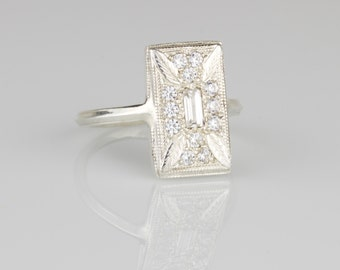 Art Deco Botanical Millgrain Statement Ring - 14k Gold and White Diamond Art Deco Rectangular Ring with Hand Forged Band
