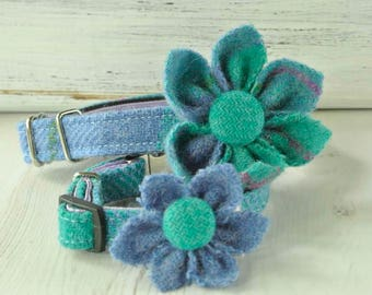 Dog collar flower corsage, Harris Tweed flower, Blue and turquoise plaid flower collar ornament