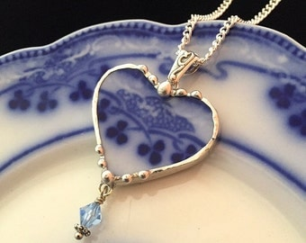 Broken China Jewelry Heart Pendant necklace antique flow blue clover shamrock china - Swarovski crystal