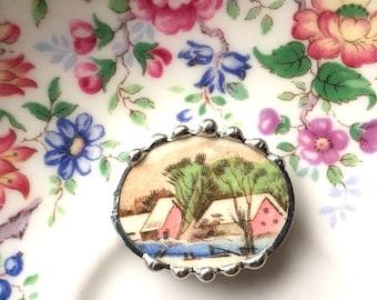 Broken china jewelry - snowy red barn farm scene trees river - vintage china - broken china jewelry pin brooch, porcelain jewerly
