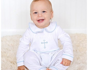5 piece white baptism outfit long sleeve with hat boys
