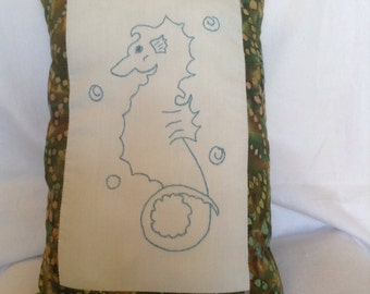 Embroidered Seahorse Decorative Pillow Handmade Nautical