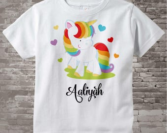 Personalized Rainbow Unicorn Shirt or Onesie, Girl's Unicorn Shirt, Rainbow Unicorn Theme 10132015b